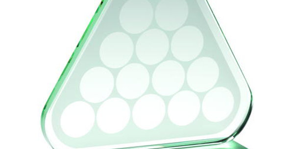 JADE GLASS TRIANGLE PLAQUE WITH POOL/SNOOKER BALLS