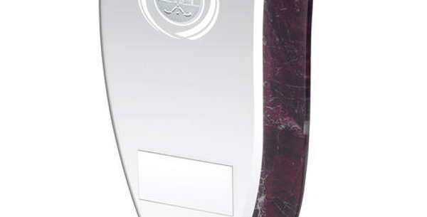 JADE GLASS WITH CLARET/SILVER MARBLE DETAIL AND HOCKEY INSERT TROPHY