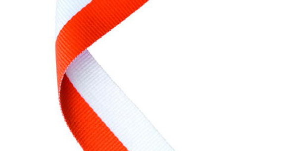 MEDAL RIBBON ORANGE/WHITE - 30 X 0.875in