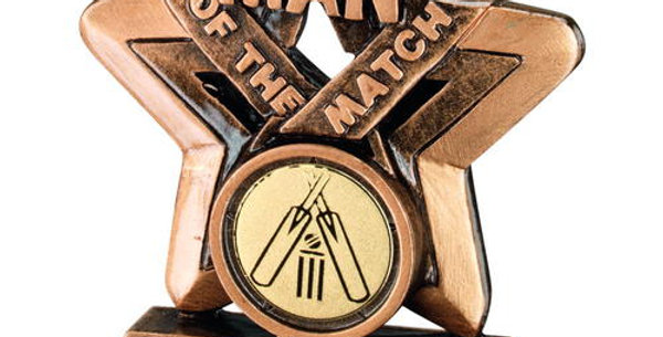 MAN OF THE MATCH MINI STAR WITH CRICKET INSERT TROPHY - 3.75in