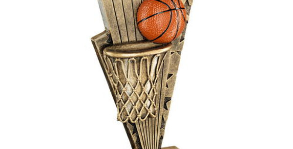 BASKETBALL AND NET ON POINTED BACKDROP TROPHY
