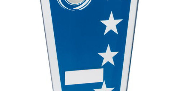 BLUE/SILVER PRINTED GLASS SHIELD WITH GO-KART INSERT TROPHY