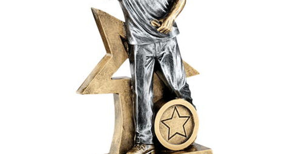MALE DARTS FIGURE WITH STAR BACKING TROPHY