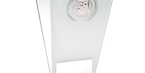 WHITE/SILVER PRINTED GLASS PLAQUE WITH FOOTBALL INSERT TROPHY