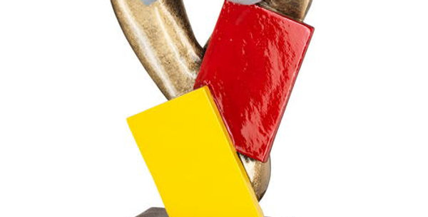 REFEREE WHISTLE WITH RED AND YELLOW CARDS TROPHY - 6.75in