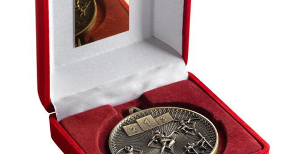 RED BOX AND 60mm MEDAL ATHLETICS TROPHY