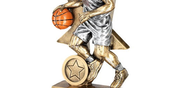 MALE BASKETBALL FIGURE WITH STAR BACKING TROPHY