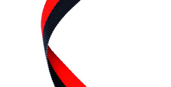 MEDAL RIBBON BLACK/RED - 30 X 0.875in
