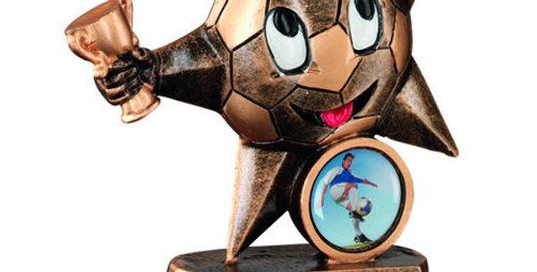 BRZ/GOLD RESIN FOOTBALL 'COMIC STAR' FIGURE TROPHY