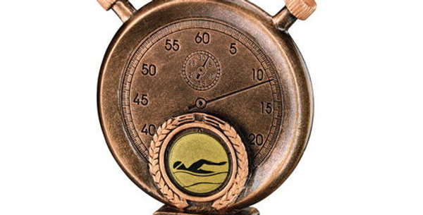 SWIMMING STOPWATCH ON PODIUM TROPHY