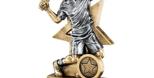 MALE TENNIS FIGURE WITH STAR BACKING TROPHY