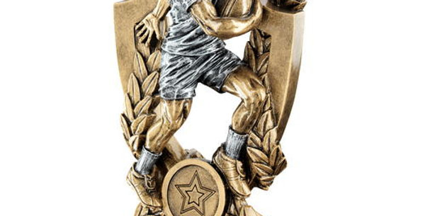 MALE RUGBY ON SHIELD AND WREATH TROPHY