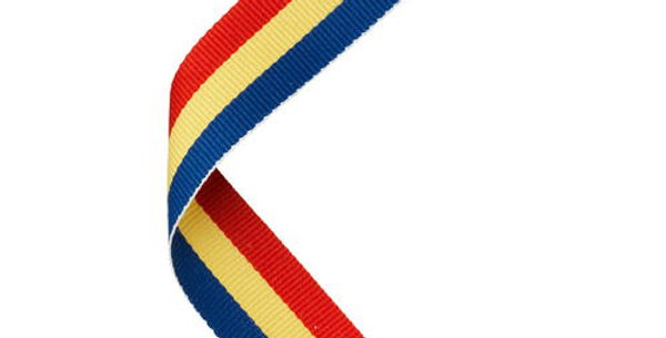 MEDAL RIBBON RED/YELLOW/BLUE - 30 X 0.875in