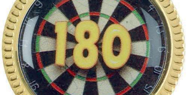 DARTS '180' METAL ROUND BADGE - 1.25in