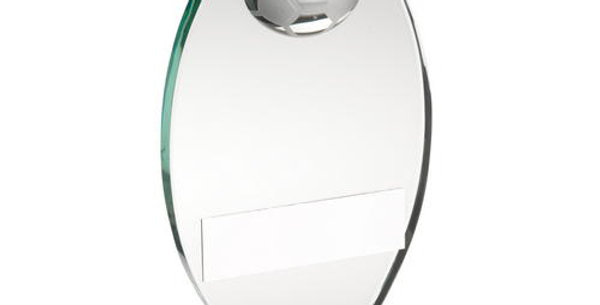 JADE GLASS PLAQUE WITH HALF FOOTBALL TROPHY