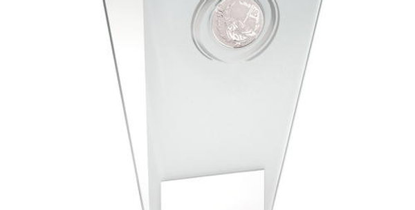 WHITE/SILVER GLASS PLAQUE WITH GOLF INSERT TROPHY