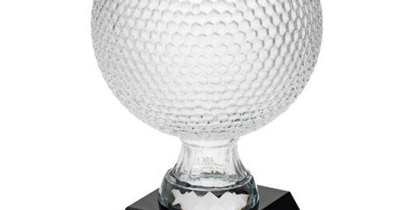 CLEAR GLASS GOLF BALL ON BLACK BASE
