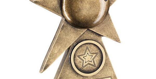 BRZ/GOLD TEN PIN STAR ON PYRAMID BASE TROPHY