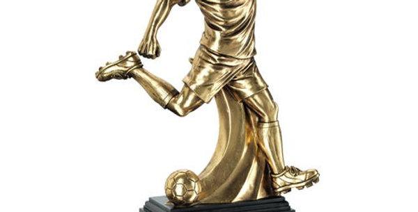 ANTIQUE GOLD PREMIUM MALE FOOTBALL FIGURE ON BLACK BASE TROPHY
