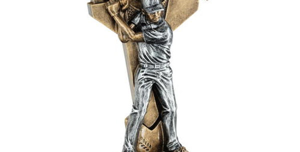 MALE GOLF FIGURE WITH BALL ON BACKDROP TROPHY