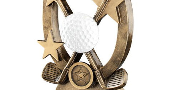 GOLF OVAL/STARS SERIES TROPHY - (1in CENTRE) 8.25in