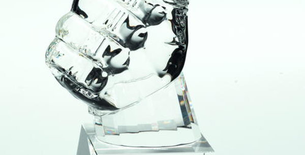 CLEAR GLASS 'THUMBS UP' TROPHY