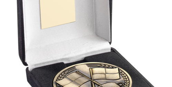 BLACK  BOX AND 70mm MEDALLION REFEREE - ANTIQUE GOLD - 4in