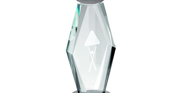 CLEAR GLASS LASERED POOL COLUMN ON BLACK BASE TROPHY