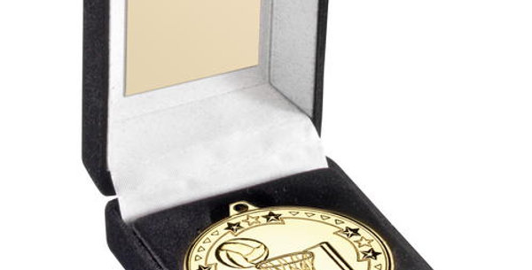 BLACK VELVET MEDAL BOX AND 50mm MEDAL NETBALL TROPHY