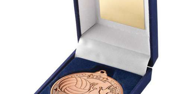 BLUE VELVET BOX AND 50mm MEDAL VOLLEYBALL TROPHY - BRONZE - 3.5in