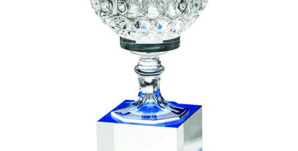 CLEAR/BLUE GLASS GOBLET ON BLOCK BASE TROPHY