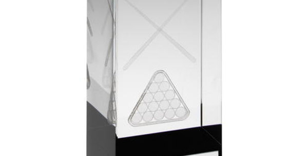 CLEAR/BLACK GLASS BLOCK WITH LASERED POOL/SNOOKER IMAGE TROPHY