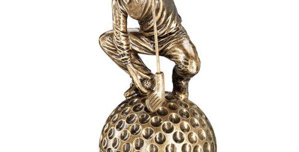 CROUCHING' GOLFER ON BALL BASE TROPHY