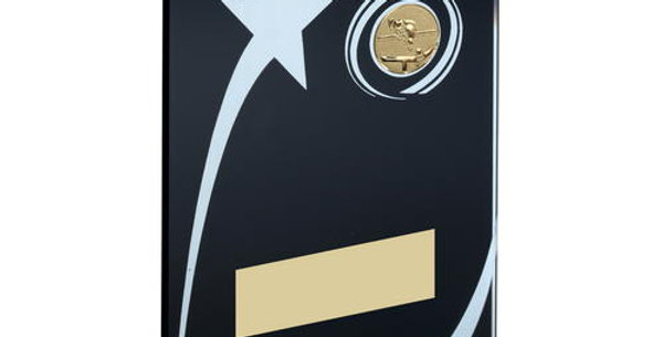 BLK/WHITE PRINTED GLASS PLAQUE WITH POOL/SNOOKER INSERT TROPHY