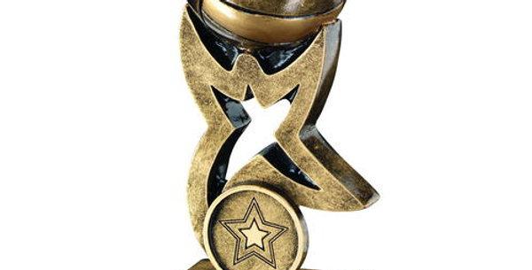 BRZ/GOLD NETBALL ON STAR TROPHY RISER TROPHY