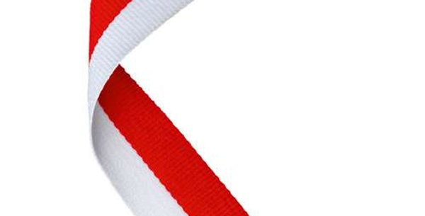 MEDAL RIBBON RED/WHITE - 30 X 0.875in