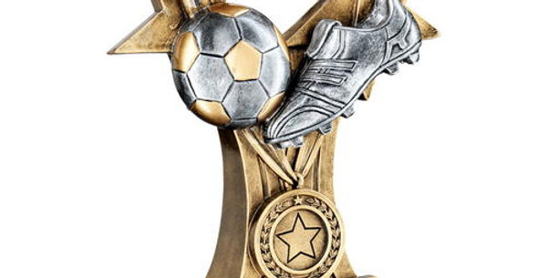 FOOTBALL AND BOOT WITH MEDAL/RIBBON TROPHY