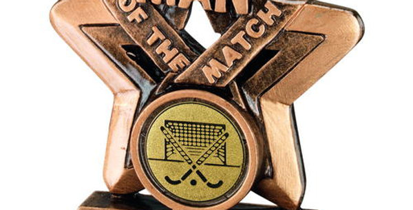 BRZ/GOLD MAN OF THE MATCH MINI STAR WITH HOCKEY INSERT TROPHY