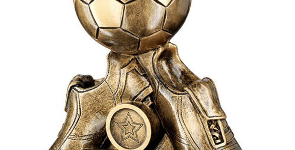 TWO FOOTBALL BOOTS WITH BALL TROPHY