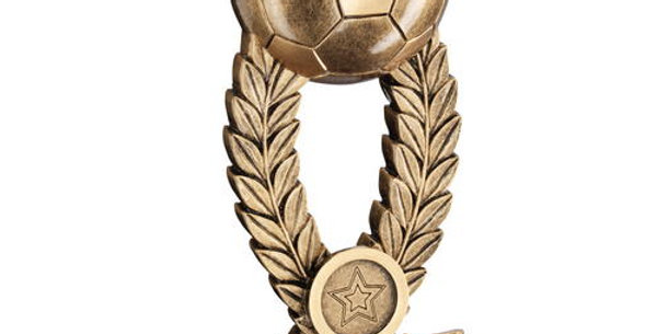 FOOTBALL ON WREATH RISER WITH RIBBON BASE TROPHY
