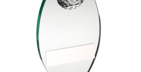 JADE GLASS PLAQUE WITH HALF GOLF BALL TROPHY