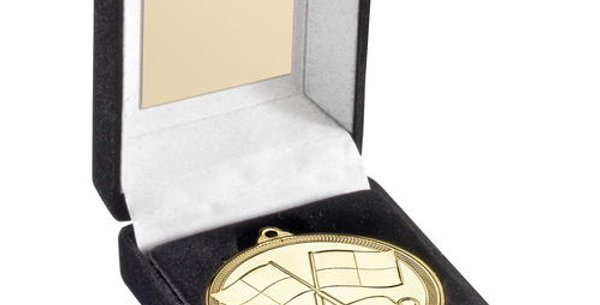BLACK  BOX AND 50mm MEDAL REFEREE  - GOLD - 3.5in
