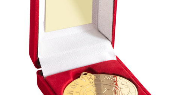 RED VELVET BOX AND 50mm 'M.O.T.M'  MEDAL TROPHY - GOLD - 3.5in