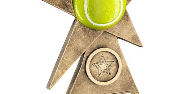 YELLOW TENNIS STAR ON PYRAMID BASE TROPHY