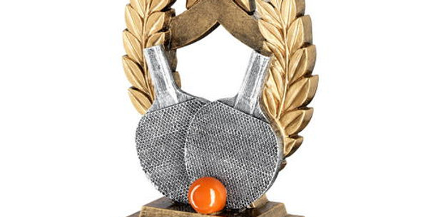 TABLE TENNIS WREATH SHIELD WITH GOLD STAR TROPHY