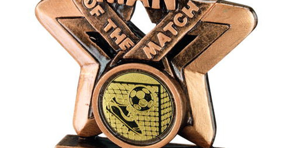 MAN OF THE MATCH MINI STAR WITH FOOTBALL INSERT TROPHY  - 3.75in