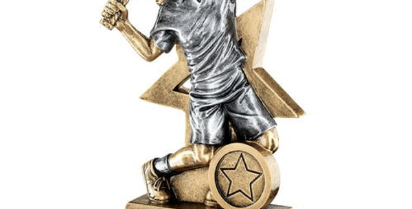 FEMALE TENNIS FIGURE WITH STAR BACKING TROPHY
