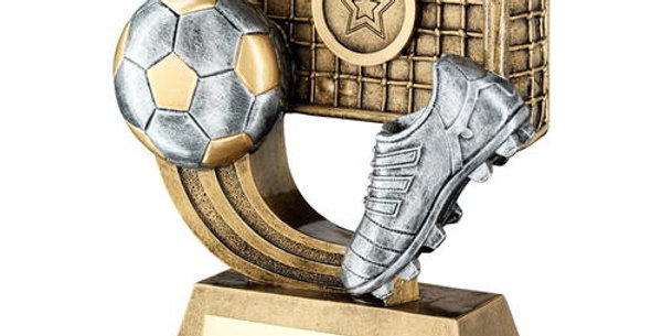 FOOTBALL ON SWOOSH WITH BOOT/NET TROPHY