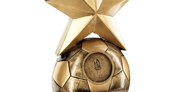 FOOTBALL WITH GOLD STAR TROPHY