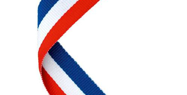 MEDAL RIBBON RED/WHITE/BLUE - 30 X 0.875in